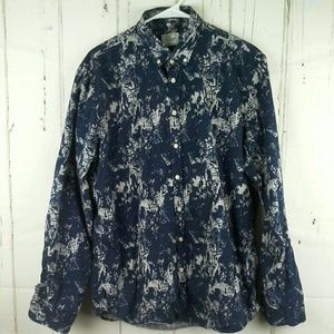 Frank & Oak Club Shirt Button Paint Splatter Sz XL